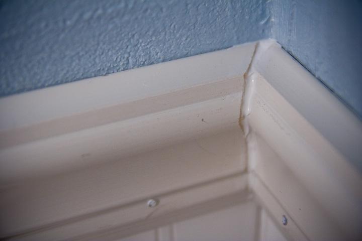 Stupid Friggin' Corners of the Friggin' Chair Rail in the Friggin' Bathroom GRRRAHHH!!!